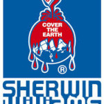 Sherwin Williams logo. Earth covered in red SWP paint with the slogon Cover the Earth
