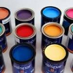 Valspar paint buckets of various vibrant colors